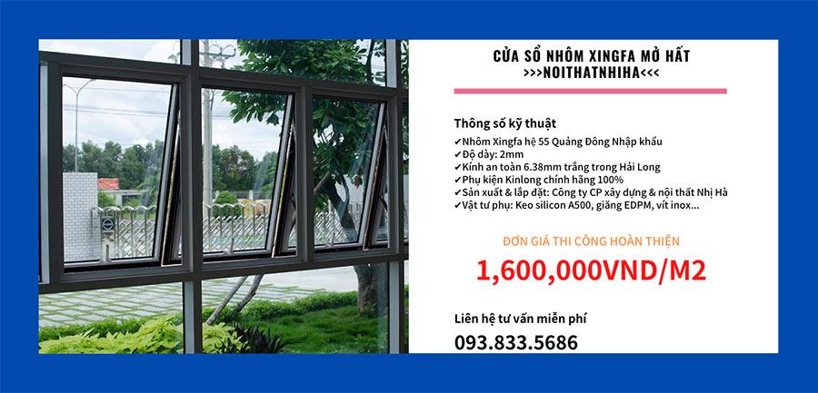 Báo giá cửa sổ mở hất nhôm Xingfa