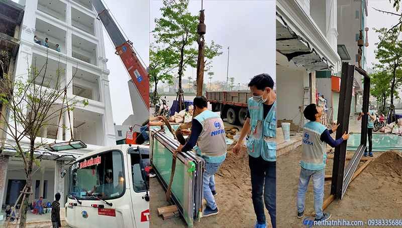 công tác vận chuyển thi công cửa nhôm xingfa cho nhà cao tầng