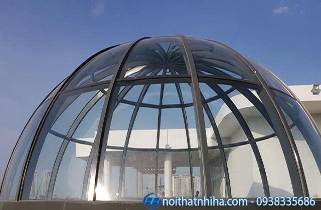 mái kính cường lực uốn cong khung vòm