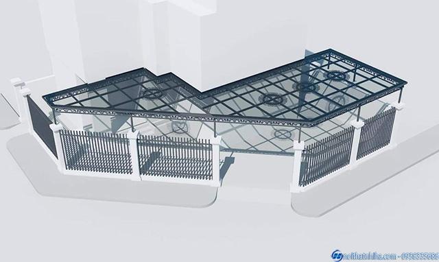 Bản vẽ công trình mái kính dành cho biệt thự