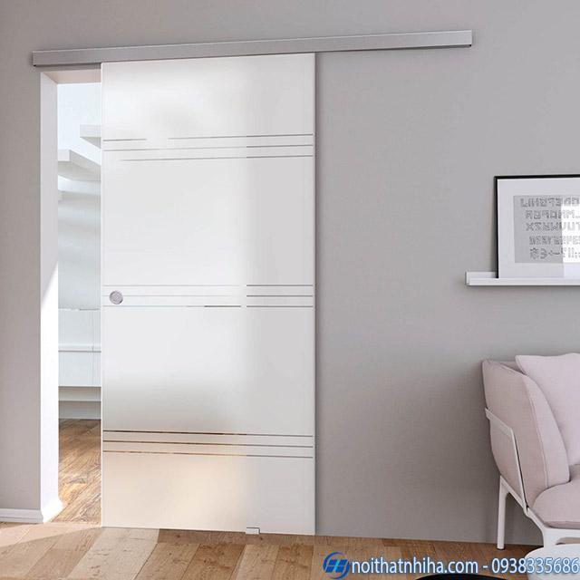 Mẫu cửa kính cường lực 1 cánh mở lùa thích hợp cho phòng ngủ