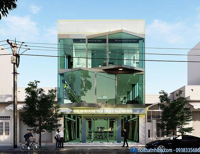 Thiết kế vách kính cường lực mặt tiền nhà 3 tầng