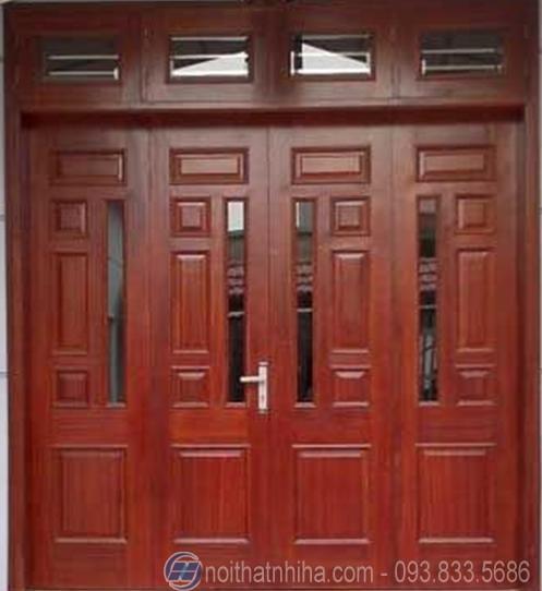 cửa sắt 4 cánh kính cường lực
