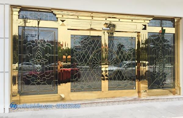cửa kính inox vàng gương-1