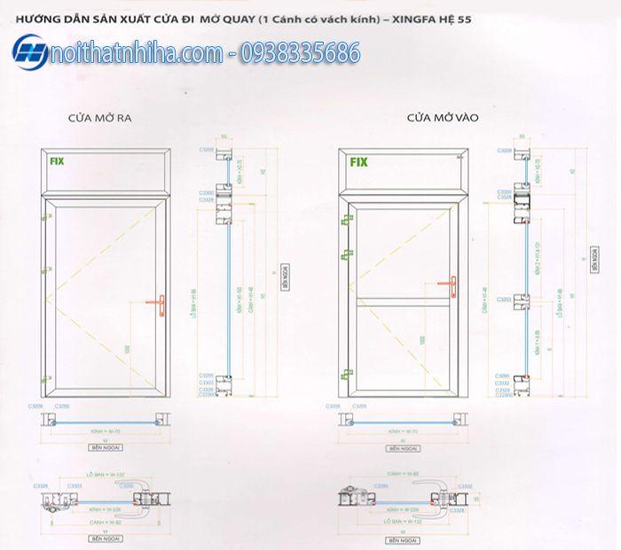 Cửa phòng ngủ nhôm xingfa - cấu tạo cửa đi mở quay 1 cánh có vách kính