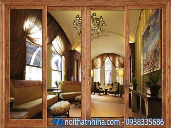 Cửa nhôm 4 cánh vân gỗ cho ngôi nhà vẻ đẹp hoàn hảo