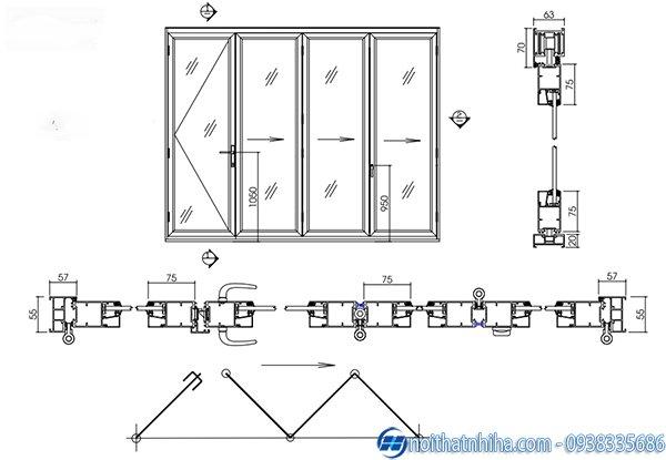 Cửa nhôm xingfa 4 cánh - Cấu tạo cửa đi xếp trượt