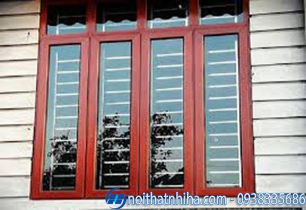 cửa nhôm kính 4 cánh vân gỗ cửa sổ
