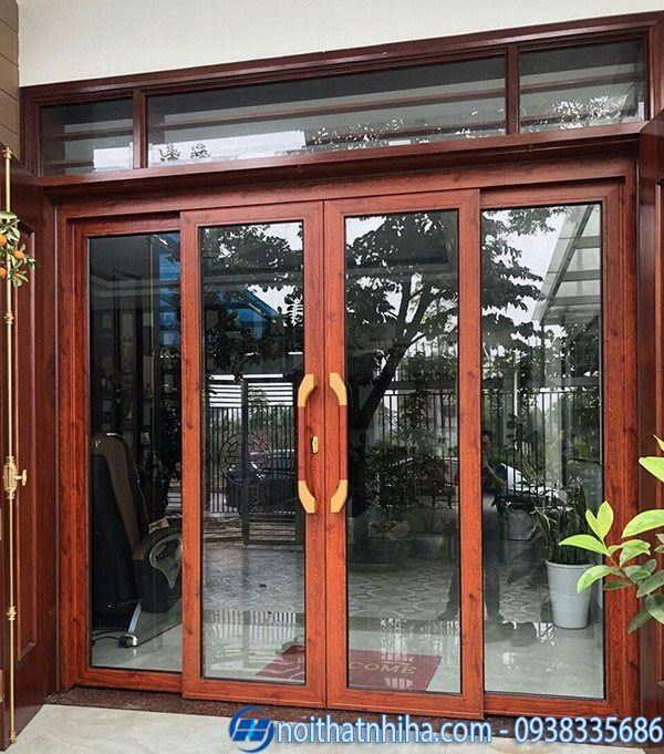 Cửa chính nhôm xingfa màu vân gỗ