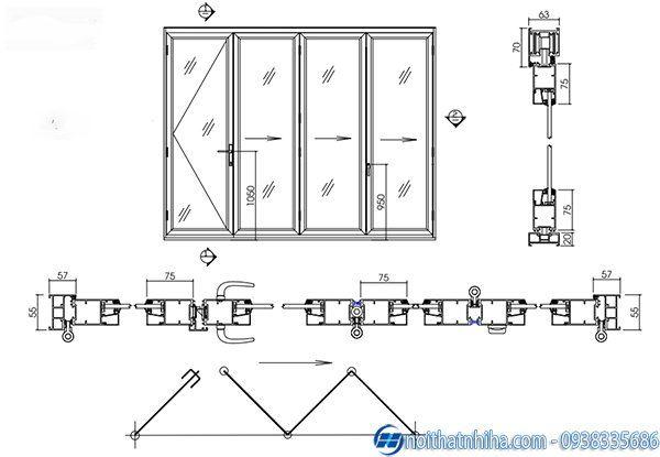 Cửa chính nhôm xingfa - Cấu tạo cửa chính nhôm xingfa xếp trượt