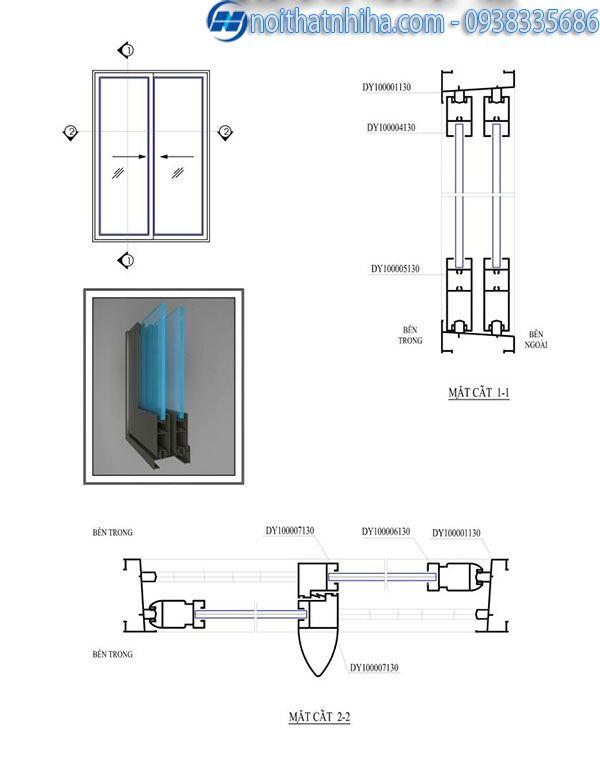 Cửa nhôm hệ 1000 4 cánh - cấu tạo cửa đi mở trượt