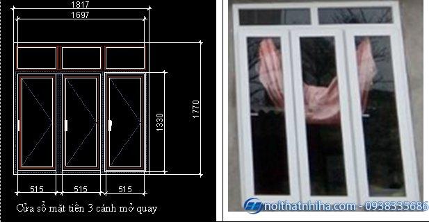 Mẫu cửa sổ nhôm kính 3 cánh