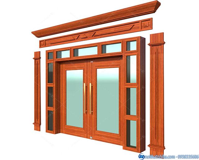Bản vẽ cửa kính cường lực khung gỗ