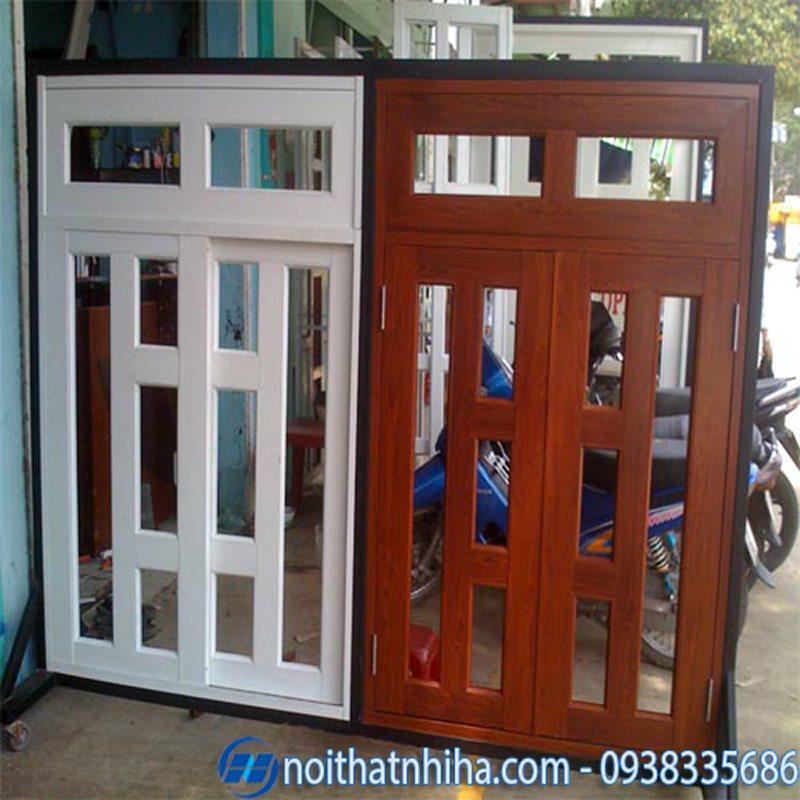 cửa nhôm vân gỗ đông á-4