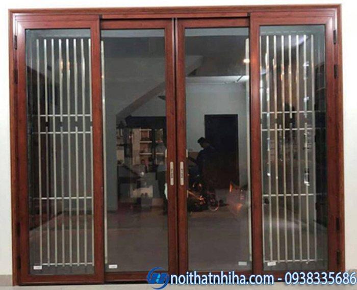 cửa nhôm việt pháp vân gỗ