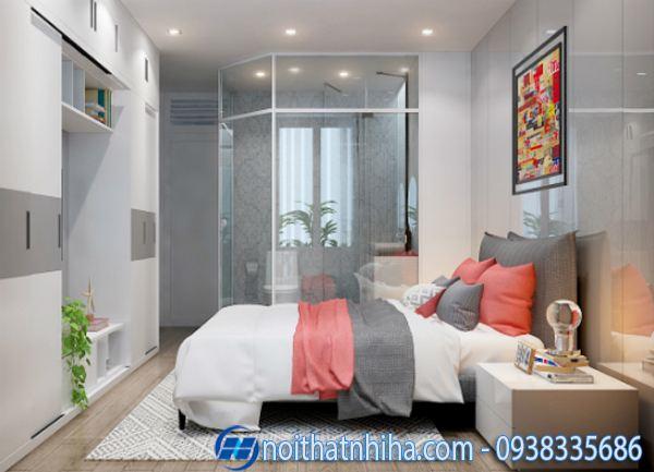 Phòng tắm kính trong phòng ngủ có diện tích hẹp