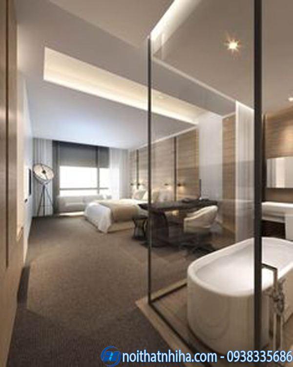 Phòng tắm kính trong phòng ngủ đẹp hiện đại