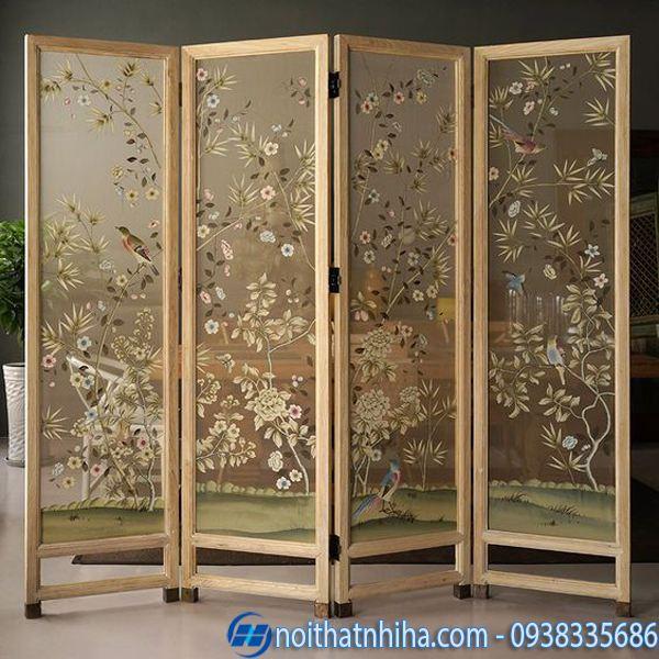 Vách ngăn di động phòng ngủ khung gỗ kết hợp vải thêu cao cấp
