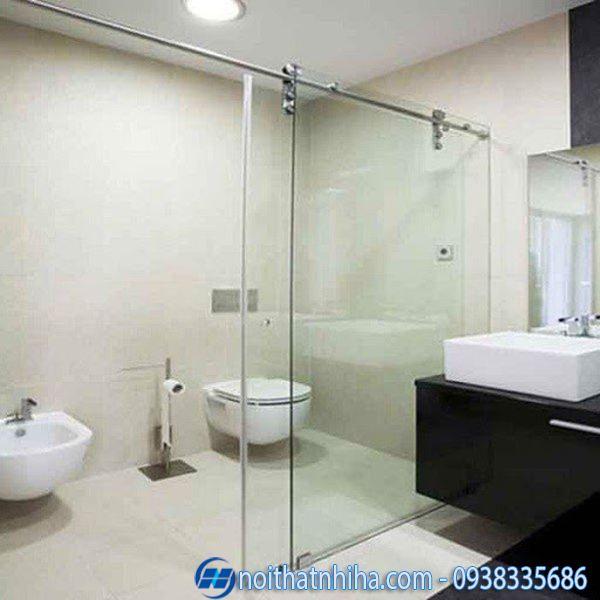 Mẫu cửa kính cường lực 2 cánh mở lùa cho nhà tắm