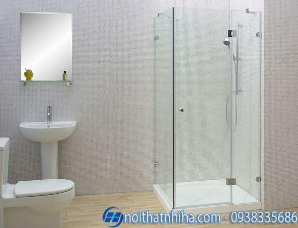 Vách kính phòng tắm nhỏ kính thẳng