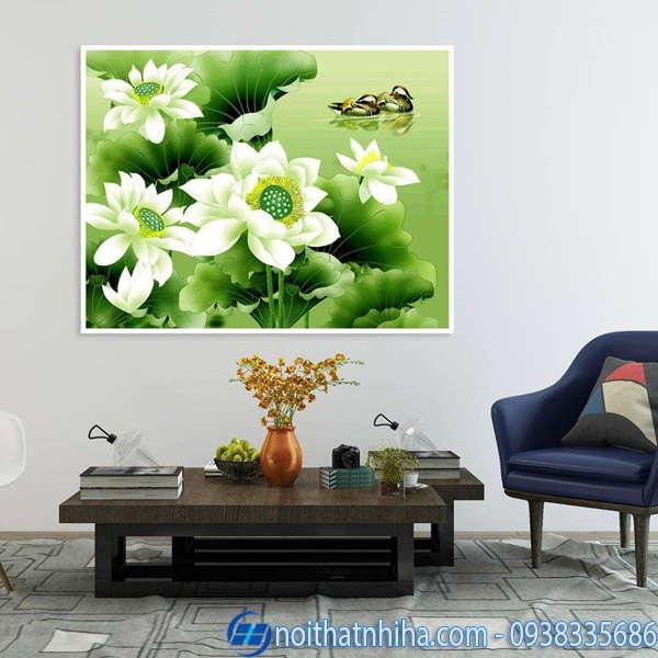 Tranh kính 3D hoa sen trắng tinh khôi