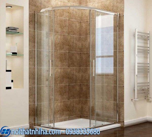 Vách kính phòng tắm 135 độ kính cong hiện đại