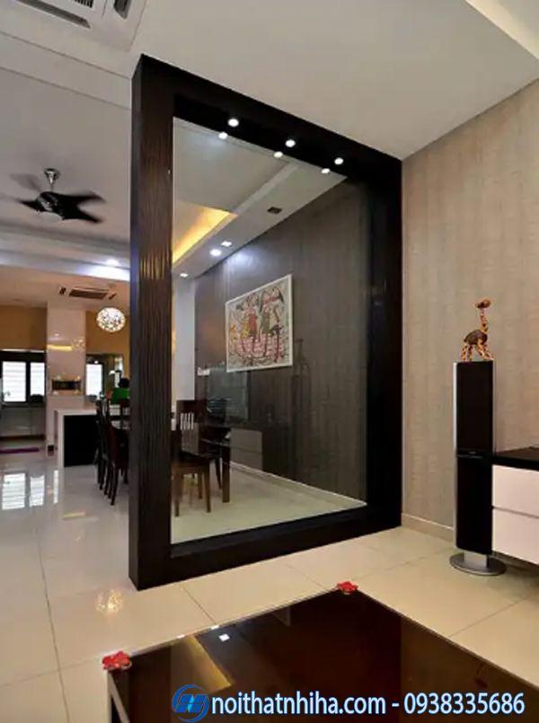 Các kiểu vách ngăn phòng khách và bếp nhôm kính đẹp hiện đại