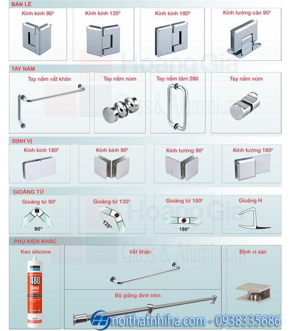 Một số phụ kiện vách kính phòng tắm