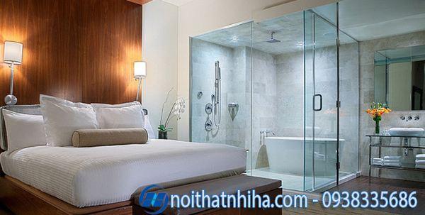 Phòng tắm kính trong phòng ngủ đẹp nhẹ nhàng