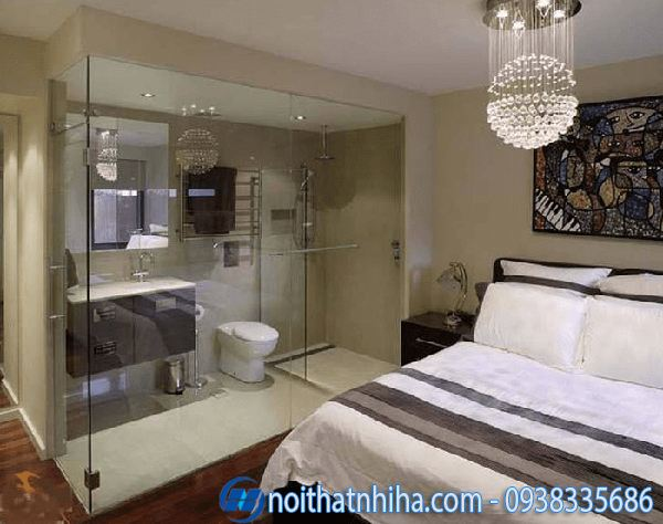 Phòng tắm kính trong phòng ngủ tiết kiệm diện tích
