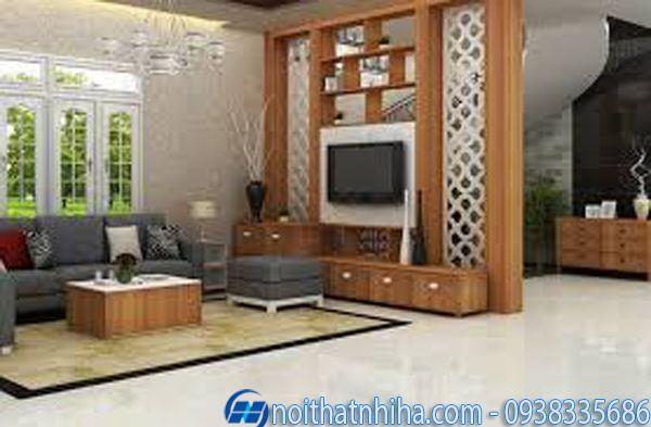Các kiểu vách ngăn phòng khách và bếp gỗ tự nhiên mang đến vẻ đẹp cổ điển