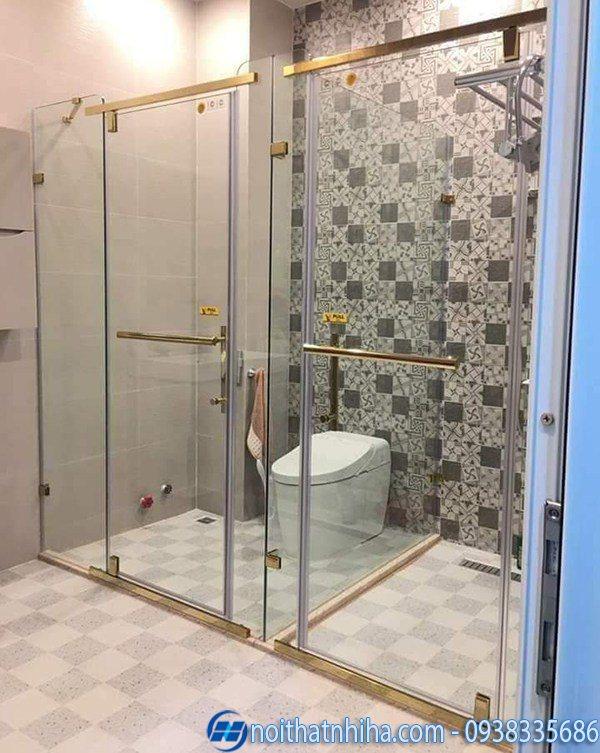 cửa kính lùa phòng tắm khung inox mạ vàng