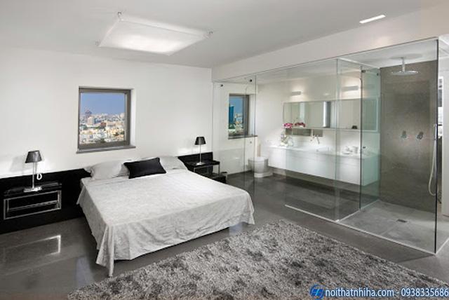 Mẫu phòng tắm kính trong phòng ngủ