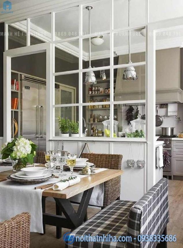 vách ngăn phòng khách và bếp bằng kính