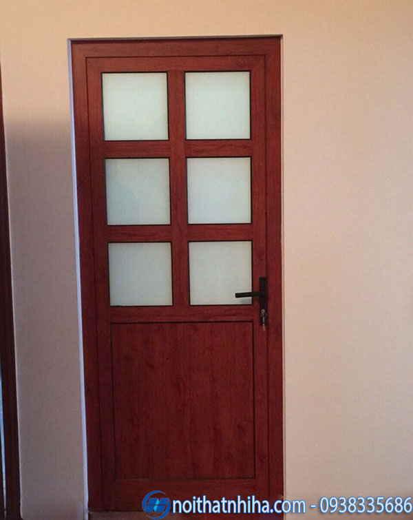 Cửa nhôm kính 1 cánh phòng ngủ nhôm giả gỗ