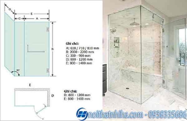 kích thước phòng tắm kính 90 độ