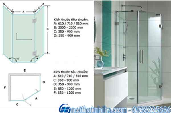 kích thước phòng tắm kính vát