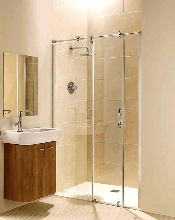 Phòng tắm kính thẳng cửa mở trượt