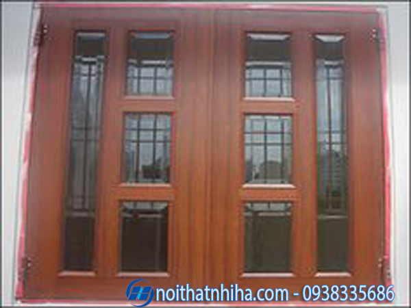 Cửa nhôm giả gỗ kết hợp kính 2 cánh mở quay