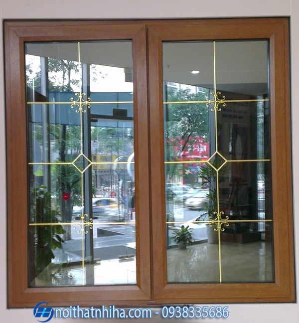 Mẫu cửa đi khung nhôm giả gỗ kính hộp cách âm cách nhiệt