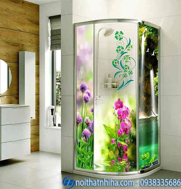 Phòng tắm kính hoa văn 3D