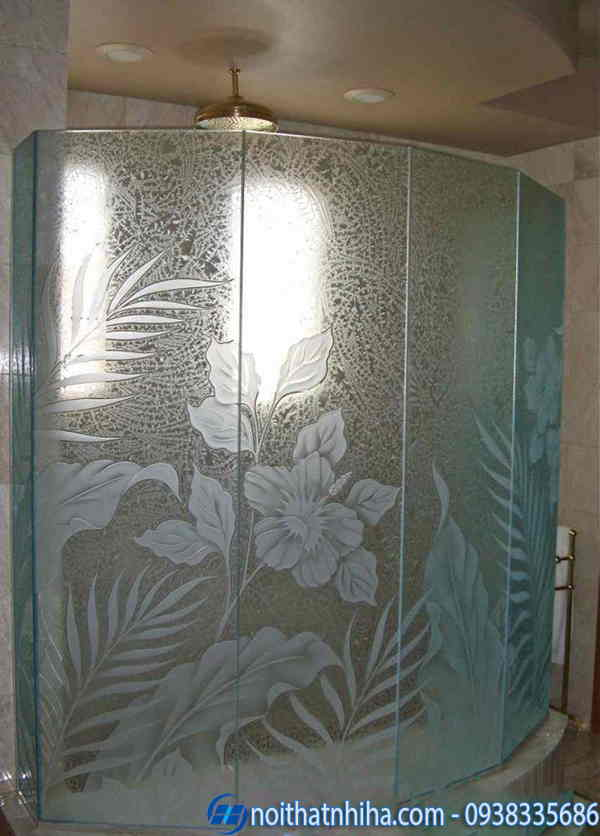 Phòng tắm kính hoa văn không màu