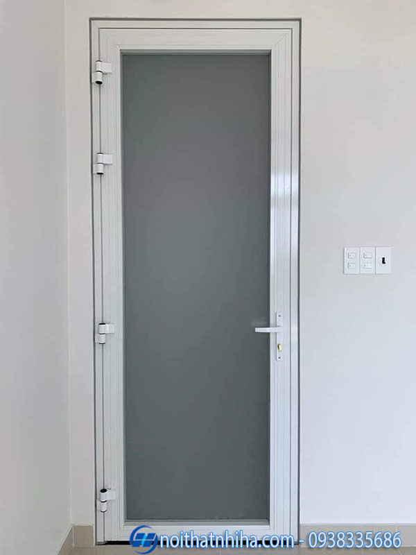 Cửa nhôm kính 1 cánh phòng ngủ màu trắng sữa