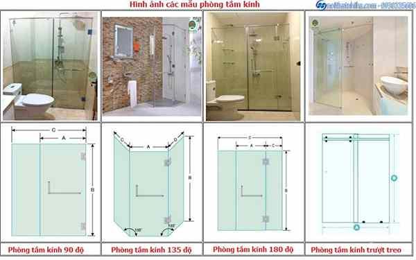 Cabin tắm kính cường lực, phòng tắm kính đứng