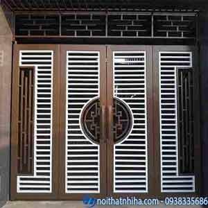 cổng sắt hộp 4 cánh đẹp đơn giản