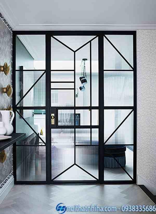 Cửa kính khung sắt sơn tĩnh điện đẹp, hiện đại