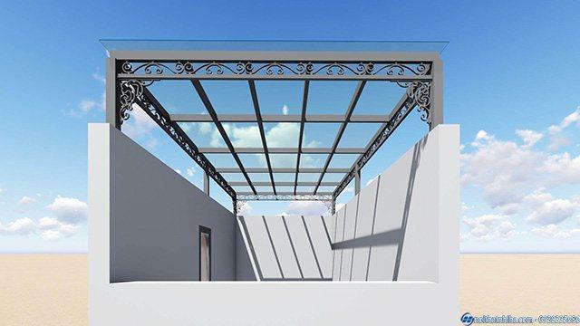 mái kính sân thượng giếng trời
