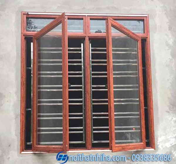 Cửa sổ nhôm kính 2 cánh vân gỗ đẹp