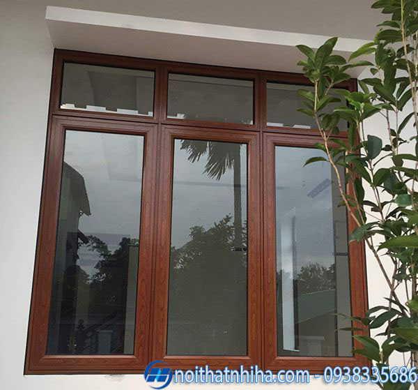 Cửa nhôm Xingfa vân gỗ 3 cánh đẹp