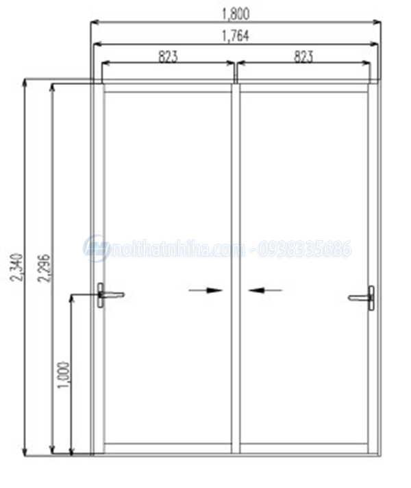 Kích thước cửa đi mở trượt 2 cánh nhôm Xingfa